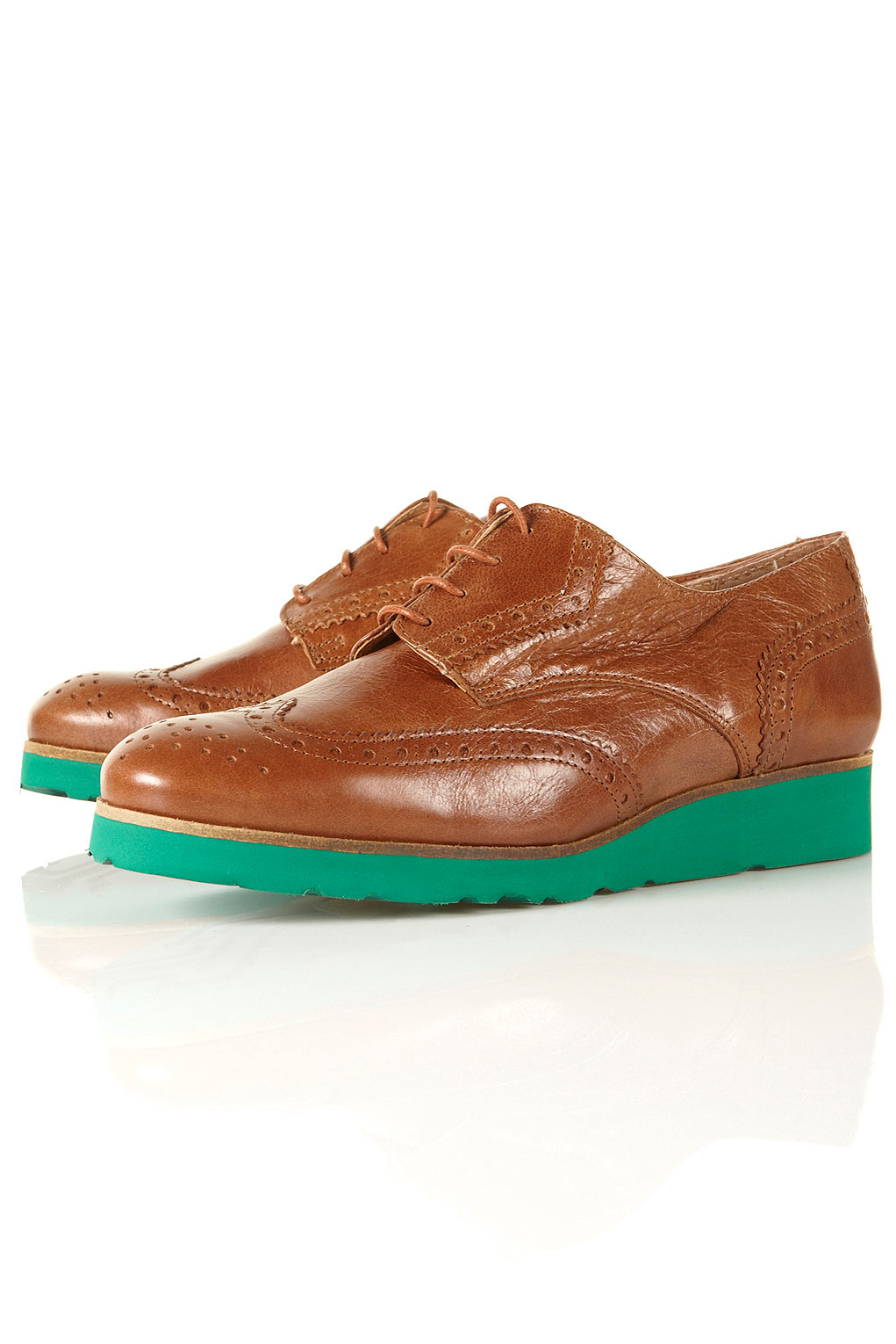 Topshop Kingston Tan Leather Brogues