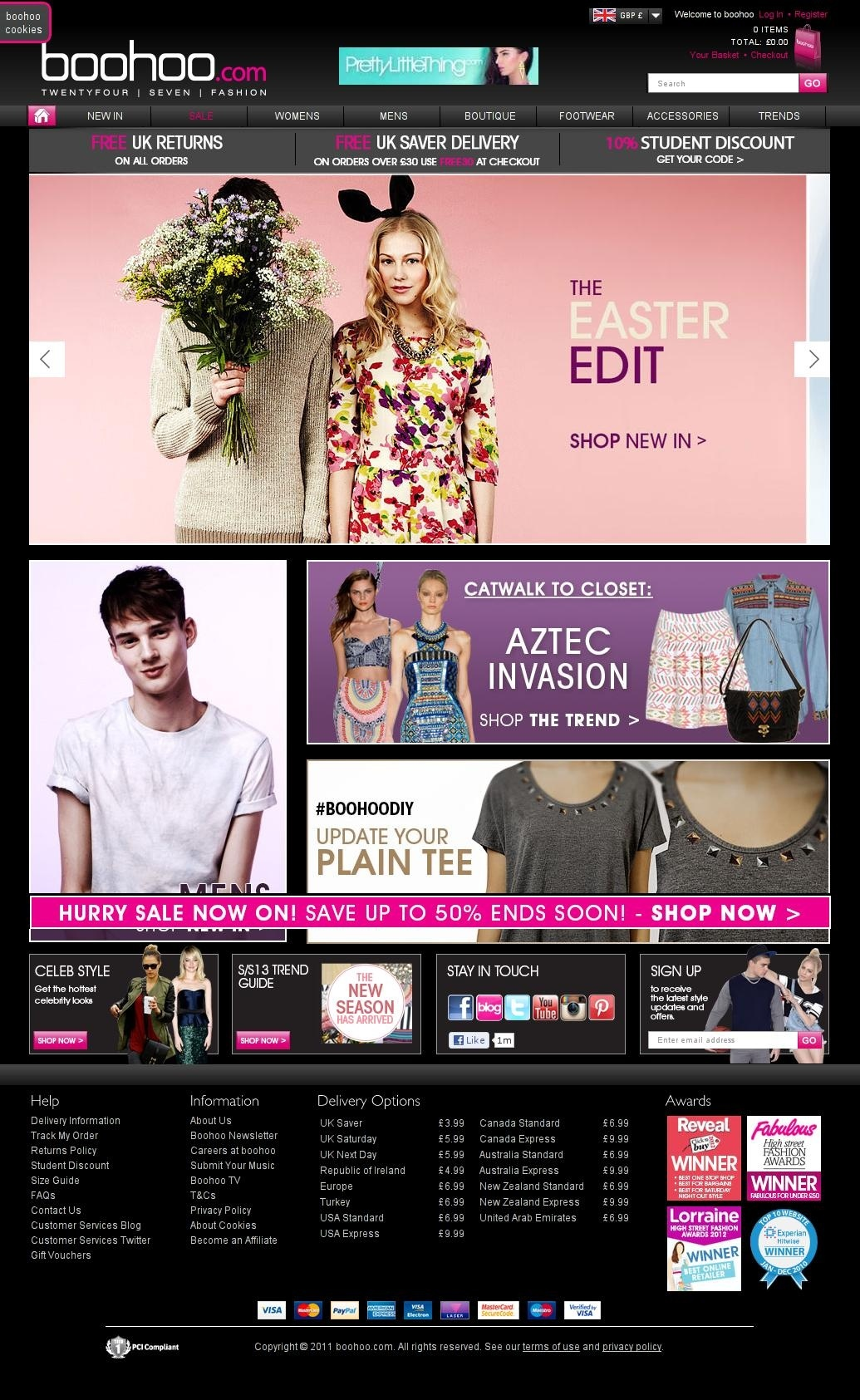 Boohoo homepage update 25th March