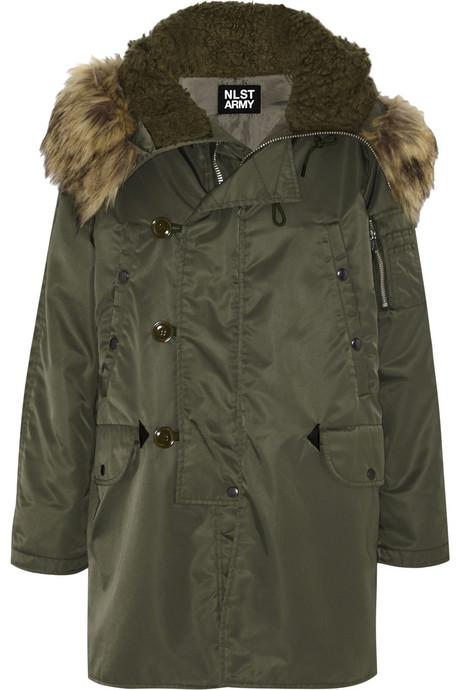 Faux fur-trimmed shell parka by N3-B at Net-a-Porter