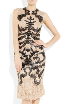 Alexander McQueen laser cut patent leather and lace dress at Net-a-Porter