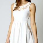 Boohoo laser cut fit and flare dress