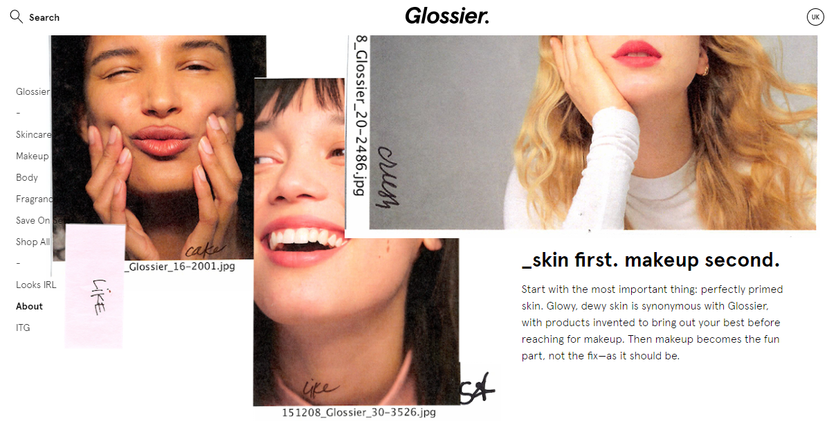 Glossier skin first. makeup second